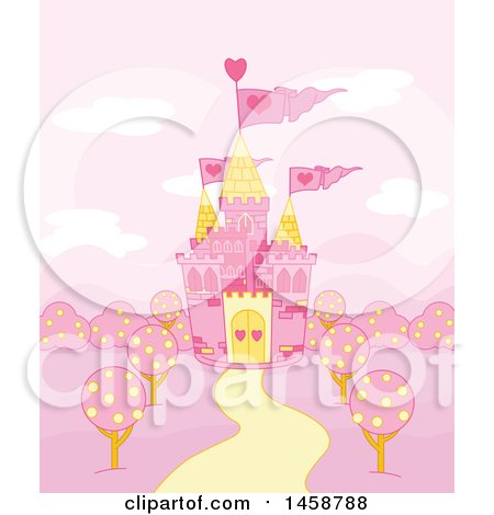 Clipart of a Pink Fairy Tale Castle - Royalty Free Vector Illustration by Pushkin