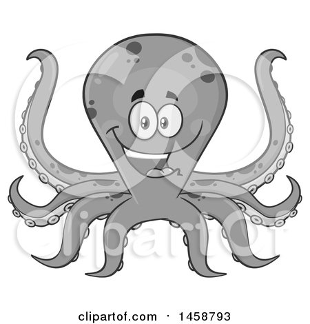 Clipart of a Happy Grayscale Octopus - Royalty Free Vector Illustration by Hit Toon