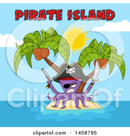 Clipart of a Tough Purple Pirate Octopus Holding a Sword and Pistol, with Text, on an Island - Royalty Free Vector Illustration by Hit Toon