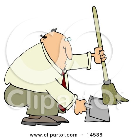 Chubby And Balding Businessman In A Tan Suit, Crouching And Using A Broom To Sweep Up Dirt In A Dustpan Clipart Illustration by djart