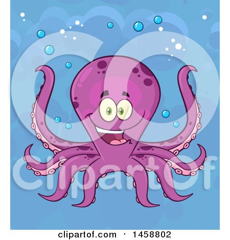 Clipart of a Happy Octopus Underwater - Royalty Free Vector Illustration by Hit Toon