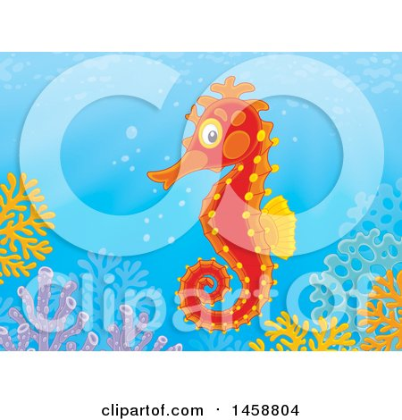Clipart of a Seahorse over a Reef - Royalty Free Illustration by Alex Bannykh