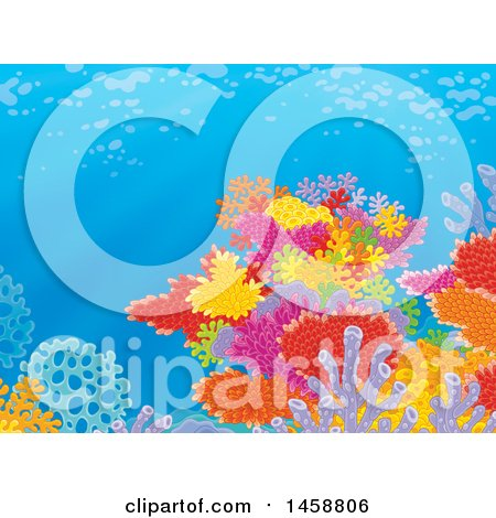 Clipart of a Backdrop of a Colorful Coral Reef - Royalty Free Illustration by Alex Bannykh