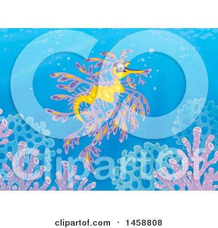 Clipart of a Leafy Seadragon Underwater - Royalty Free Illustration by Alex Bannykh