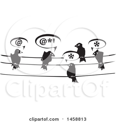 Clipart of a Black and White Woodcut Group of Birds Talking on Wires - Royalty Free Vector Illustration by xunantunich