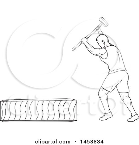Clipart of a Black and White Athlete Hitting a Tire with a Hammer, in Sketch Style - Royalty Free Vector Illustration by patrimonio