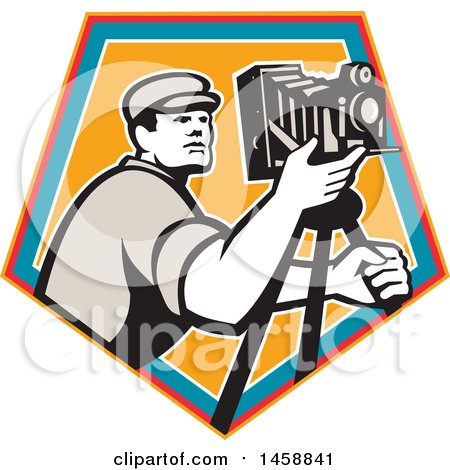 Clipart of a Retro Camera Man with a Tripod in a Crest - Royalty Free Vector Illustration by patrimonio