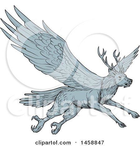 Clipart of a Peryton Flying Eagle Deer, in Sketched Drawing Style - Royalty Free Vector Illustration by patrimonio