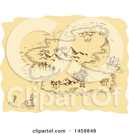 Clipart of a Pirate Treasure Map with an Island and Sea Monster, in Sketched Drawing Style - Royalty Free Vector Illustration by patrimonio