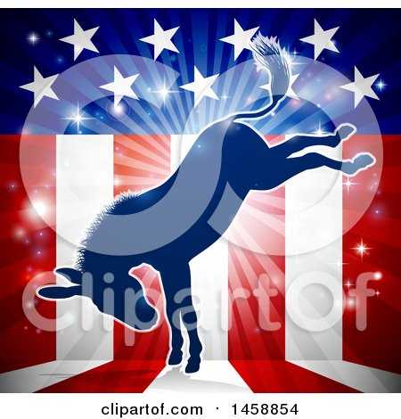 Clipart of a Blue Silhouette of a Kicking Democratic Donkey over an American Flag Themed Burst - Royalty Free Vector Illustration by AtStockIllustration