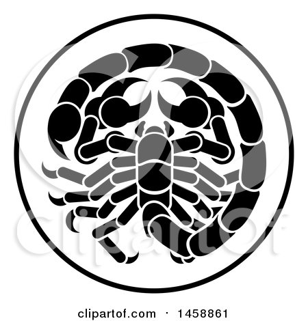 Clipart of a Black and White Zodiac Horoscope Astrology Scorpio Circle Design - Royalty Free Vector Illustration by AtStockIllustration