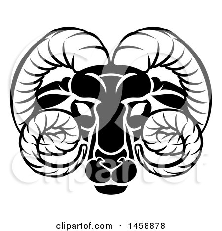 Clipart of a Black and White Zodiac Horoscope Astrology Aries Ram Design - Royalty Free Vector Illustration by AtStockIllustration