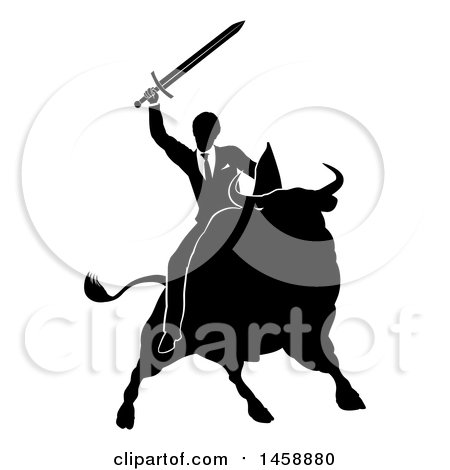 Clipart of a Black and White Silhouetted Business Man Holding a Sword and Riding a Stock Market Bull - Royalty Free Vector Illustration by AtStockIllustration