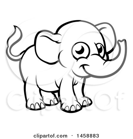 Black and White Cartoon Baby Elephant Posters, Art Prints
