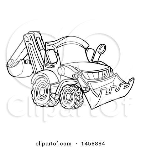Clipart Of A Black And White Bulldozer Royalty Free