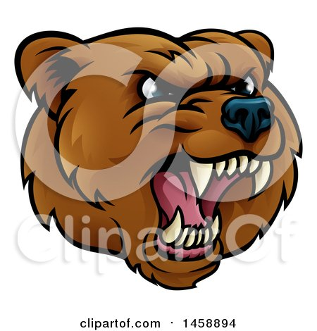 Clipart of a Mad Grizzly Bear Mascot Head - Royalty Free Vector Illustration by AtStockIllustration