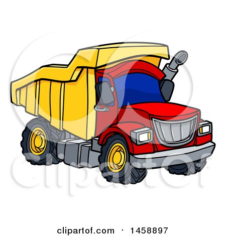 Clipart of a Cartoon Dump Truck - Royalty Free Vector Illustration by AtStockIllustration