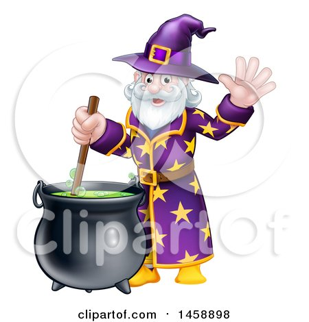 Clipart of a Happy Old Bearded Wizard Mixing a Potion and Waving - Royalty Free Vector Illustration by AtStockIllustration