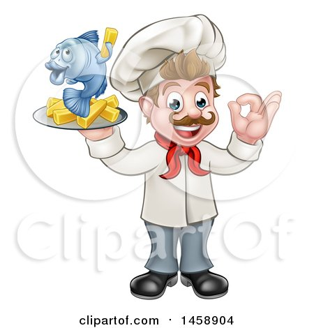 Clipart of a Cartoon White Male Chef Gesturing Ok and Holding a Fish and Chips on a Tray - Royalty Free Vector Illustration by AtStockIllustration