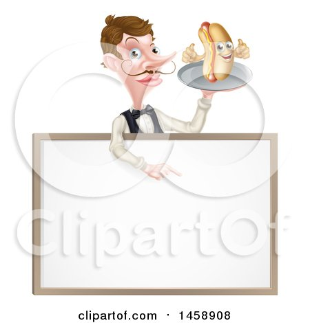 Clipart of a White Male Waiter with a Curling Mustache, Holding a Hot Dog on a Platter over a Blank Menu Sign - Royalty Free Vector Illustration by AtStockIllustration