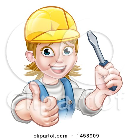 Clipart of a Cartoon Happy White Female Electrician Wearing a Cap, Holding up a Screwdriver and Giving a Thumb up - Royalty Free Vector Illustration by AtStockIllustration