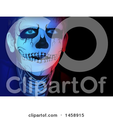 Clipart of a Man in Skeleton Makeup - Royalty Free Vector Illustration by dero