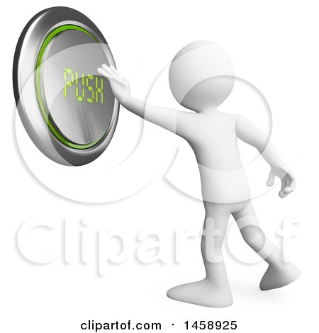 Clipart of a 3d White Man Pushing a Giant Button, on a White Background - Royalty Free Illustration by Texelart