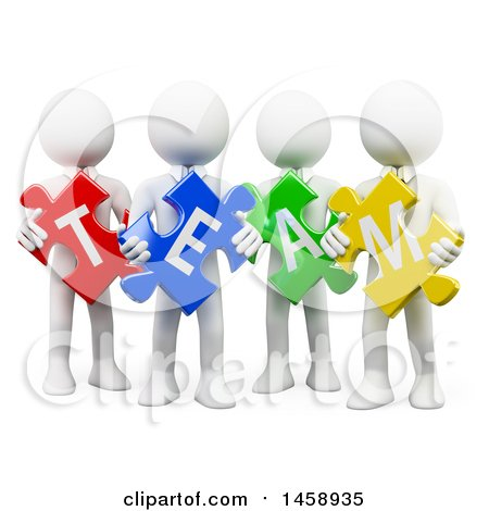 Clipart of a 3d Group of White Men Holding Team Puzzle Pieces, on a White Background - Royalty Free Illustration by Texelart