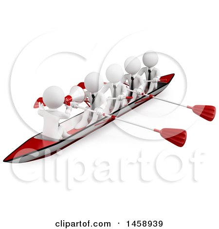 Clipart of a 3d Team of White Men Rowing a Boat, on a White Background - Royalty Free Illustration by Texelart