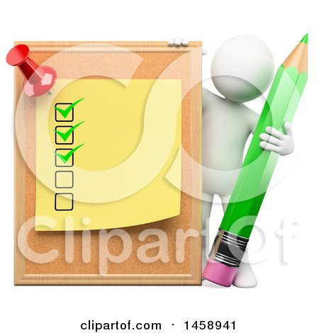 Clipart of a 3d White Man with a Cork Board, Post It and Pencil, on a White Background - Royalty Free Illustration by Texelart