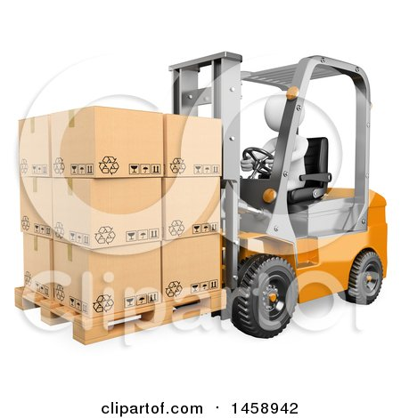 Clipart of a 3d White Man Operating a Forklift, on a White Background - Royalty Free Illustration by Texelart