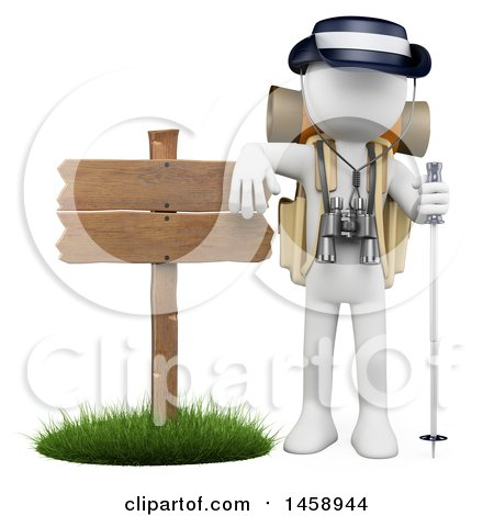 Clipart of a 3d White Man Hiker by a Sign, on a White Background - Royalty Free Illustration by Texelart