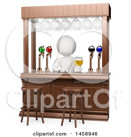 Clipart of a 3d White Man Bartender, on a White Background - Royalty Free Illustration by Texelart