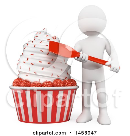 Clipart of a 3d White Man with a Huge Ice Cream with Raspberries, on a White Background - Royalty Free Illustration by Texelart