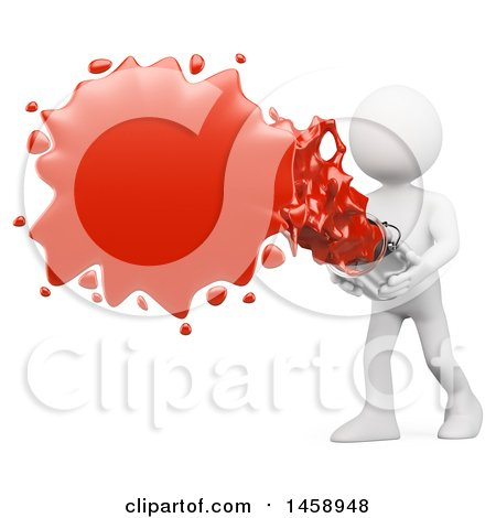 Clipart of a 3d White Man Splashing Red Paint on a White Background - Royalty Free Illustration by Texelart