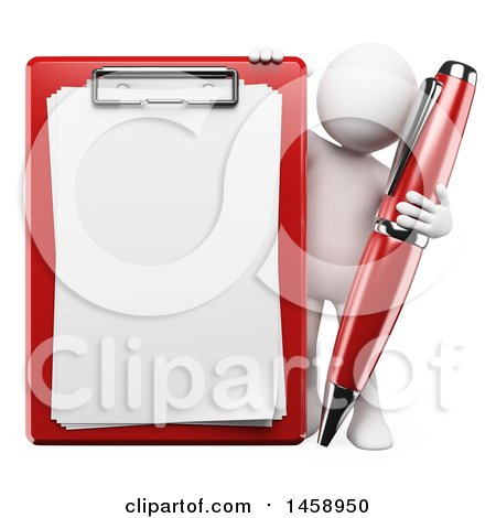 Clipart of a 3d White Man with a Pen and Clipboard, on a White Background - Royalty Free Illustration by Texelart