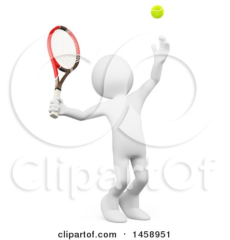 Clipart of a 3d White Man Serving a Tennis Ball, on a White Background - Royalty Free Illustration by Texelart