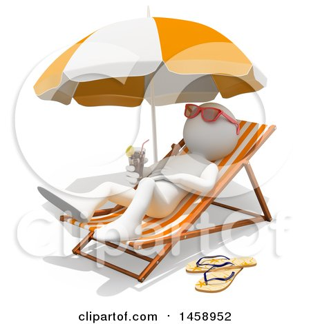 Clipart of a 3d White Man Relaxing on a Beach, on a White Background - Royalty Free Illustration by Texelart