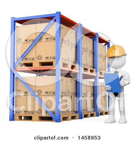 Clipart of a 3d White Man Taking Inventory in a Warehouse, on a White Background - Royalty Free Illustration by Texelart