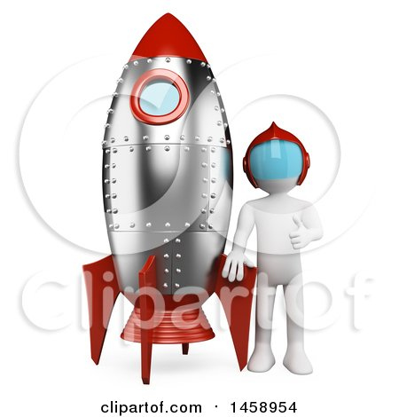 Clipart of a 3d White Man with a Rocket, on a White Background - Royalty Free Illustration by Texelart