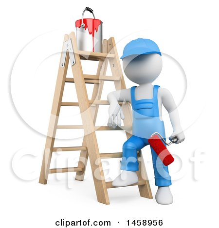 Clipart of a 3d White Man Painter with a Ladder, on a White Background - Royalty Free Illustration by Texelart