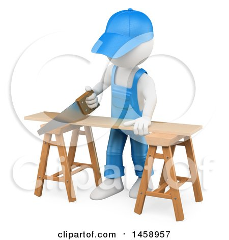Clipart of a 3d White Man Using a Saw to Cut Wood, on a White Background - Royalty Free Illustration by Texelart