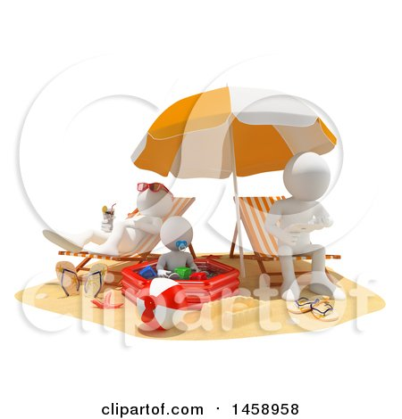 Clipart of a 3d White Family on a Beach, on a White Background - Royalty Free Illustration by Texelart