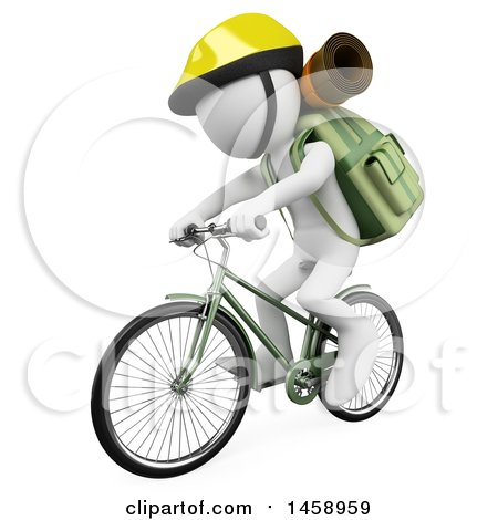 Clipart of a 3d White Man Riding a Bicycle with Hiking Gear, on a White Background - Royalty Free Illustration by Texelart