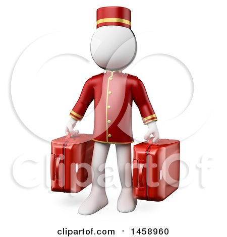 Clipart of a 3d White Man Bellhop Holding Suitcases, on a White Background - Royalty Free Illustration by Texelart