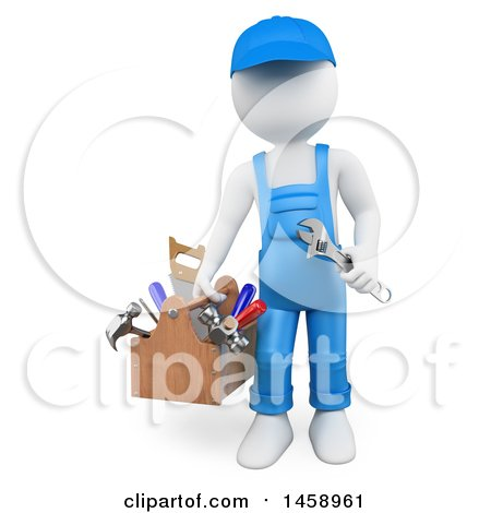 Clipart of a 3d White Man Handyman with Tools, on a White Background - Royalty Free Illustration by Texelart