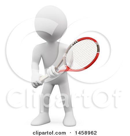 Clipart of a 3d White Man Playing Tennis, on a White Background - Royalty Free Illustration by Texelart