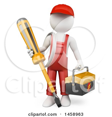 3d White Man Electrician with a Giant Screwdriver, on a White Background Posters, Art Prints