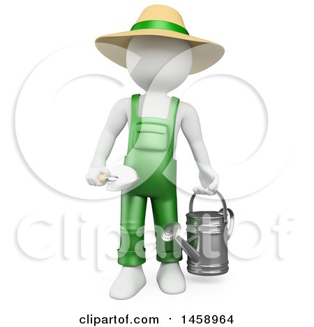 Clipart of a 3d White Man Gardener with a Watering Can and Spade, on a White Background - Royalty Free Illustration by Texelart