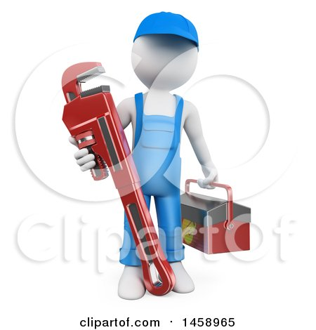 3d White Man Plumber with a Giant Monkey Wrench, on a White Background Posters, Art Prints